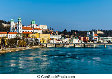 germany, bavaria, passau - view of the city of passau in...