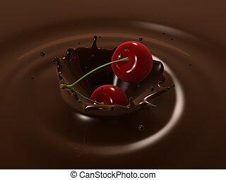 cherry choco splash - 3d rendered illustration of cherries...