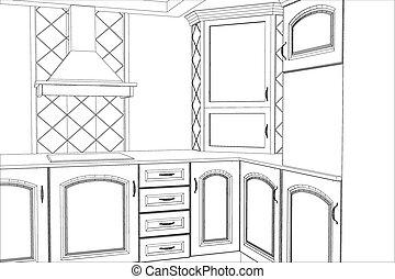 Sketch plan kitchen in the wire
