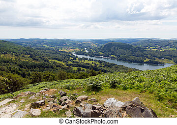 Elevated view UK Lake District - Elevated view of Windermere...