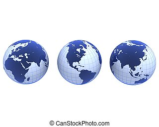 blue globes - 3d rendered illustration of three blue globes