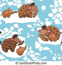 Cartoon pattern with mammoths - Baby seamless pattern with...