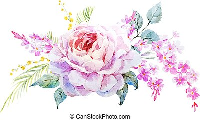 Nice roses - Beautiful vector image with nice watercolor...