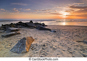 Sunset on Atlantic beach in Esposende, Minho, North-Western...