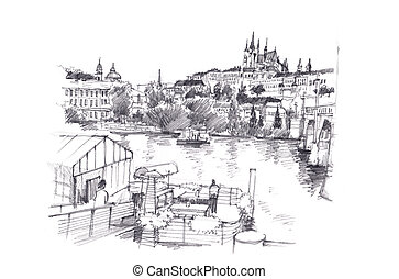 Prague, Czech Republic hand pencil drawing art