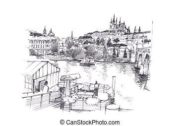 Prague, Czech Republic hand pencil drawing art