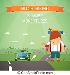 Hitchhiking vector concept with tourist highway and car