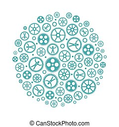 Social networking vector concept with cogs and gears