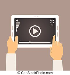 Vector concept of video player mobile application on tablet...