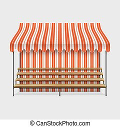 Market Stall With Wooden Shelves Vector Illustration