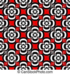 seventies flower - Red and black abstract floral seamless...