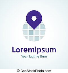 World globe map positioning pin app vector logo icon