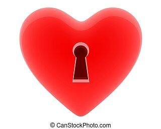 Coração, buraco fechadura