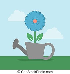 Flower in Watering Can