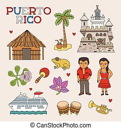 Vector Puerto Rico Doodle Art for Travel and Tourism