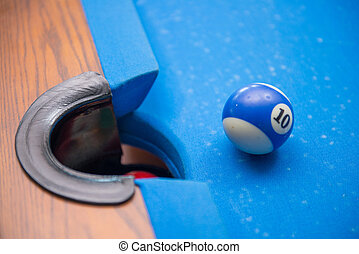 billiard balls in front of the hole, strike