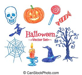 Halloween vector set. - Felt pen childlike drawing of...