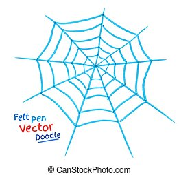 Spider web. - Felt pen drawing of spider web.