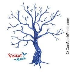Spooky tree. - Felt pen childlike drawing of spooky tree.