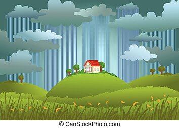 Rainy day - Landscape with the small house in rainy day, a...