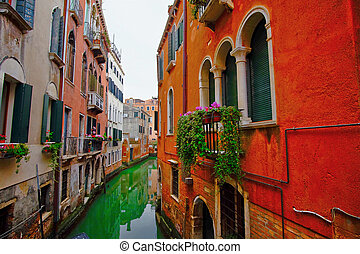 Venice Canal Italy - Ancient buildings along canal in Venice...
