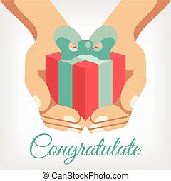 Vector congratulation flat illustration with gift box in...