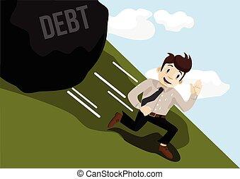Businessman running away from debt Vector flat illustration