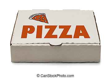 Pizza Box with Logo and Slice of Pizza Isolated on White...