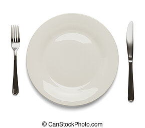 Place Setting - Dinner Plate with Silverware Isolated on...