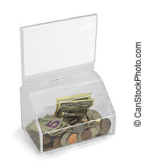Plastic Donation Box - Clear Plastic Donation Box With Money...