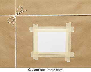 Postal Package Top - Brown Wrapped Package with String And...
