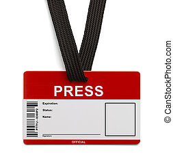 Press ID Card - Red and White Press Pass ID Card Isolated on...