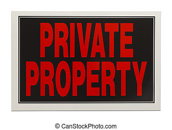 Private Property Sign - Black and Red Plastic Private...
