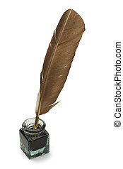 Quill and Ink - Feather Quill and Glass Ink Bottle Isolated...