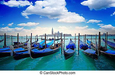 Venice Italy - Gondolas and San Giorgio Maggiore Island...