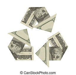 Recycle Money - One Hundred Dollar Bills ina Recycle Symbol...