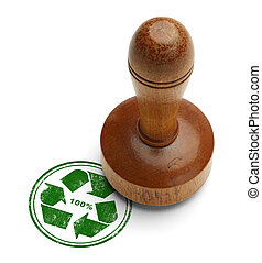 Recycle Stamp - Green 100 recycle rubber stamp with wooden...