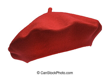 Red Beret - French Felt Beret Front Isolated on White...