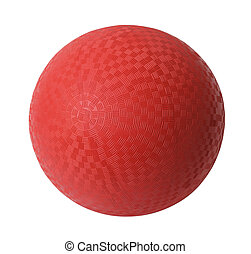 Red Dodge Ball - Red Rubber Ball Isolated on White...