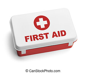 Red First Aid Kit - Red and White Plastic First Aid Kit Box....