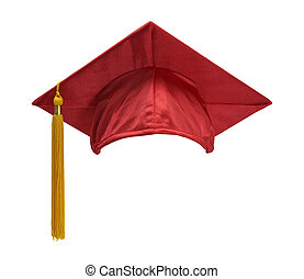 Red Graduation Hat Front - Red Graduation Hat with Gold...