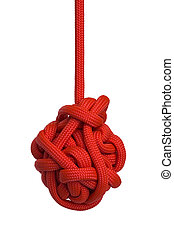 Red Hanging Knot - Large Red Hanging Knot Isolated on White...