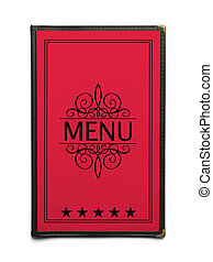 Red Menu - Red Generic Restaurant Menu with Five Stars...