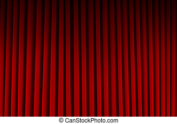 Red Movie Curtains - Red Velvet Stage Curtains Dim Lit...