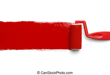 Red Paint Roller - Plastic Paint Roller with Red Paint...