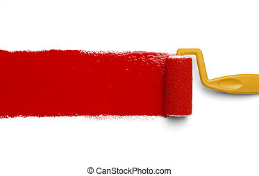Red Paint Yellow Roller - Plastic Yellow Roller with Red...