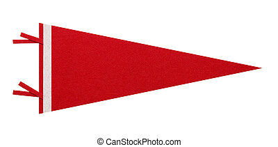 Red Penant - Felt Penant with Copy Space Isolated on White...