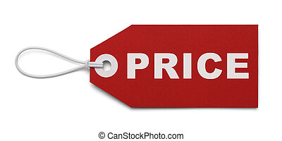Red Price Tag - Large Price Tag Isolated on White Background...