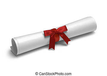 Red Ribbon Diploma - School Degree with Red Ribbon Isolated...