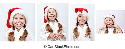 Girl four years with Santa beanie - Cheerful little girl...